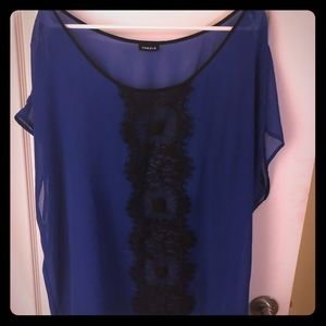 Torrid blue with black lace blouse
